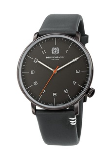 Bruno Magli Men's 43mm Roma Moderna Watch w/ Italian Leather Strap  Gray