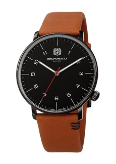 Bruno Magli Men's 43mm Roma Moderna Watch w/ Italian Leather Strap  Tan/Black
