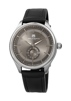 Bruno Magli Men's Classic 42mm Watch w/ Italian Leather Strap  Black