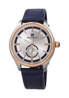 Bruno Magli Men's Classic 42mm Watch w/ Italian Leather Strap  Blue/Two-Tone