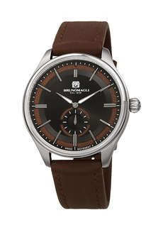 Bruno Magli Men's Classic 42mm Watch w/ Italian Leather Strap  Brown