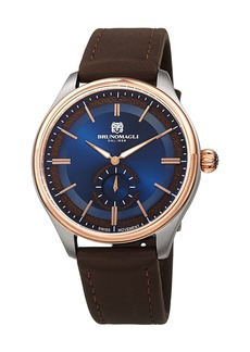 Bruno Magli Men's Classic 42mm Watch w/ Italian Leather Strap  Brown/Two-Tone