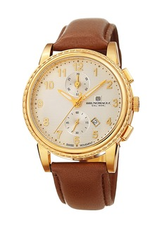 Bruno Magli Men's Dante 42mm Chronograph-Date Watch  Brown/Gold