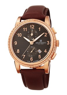 Bruno Magli Men's Dante 42mm Rose Gold IP Chronograph-Date Watch  Burgundy