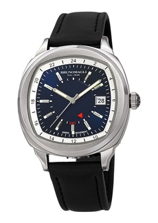 Bruno Magli Men's Enzo Cushion Watch w/ Leather Strap  Black/Silver