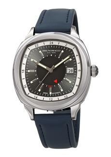 Bruno Magli Men's Enzo Cushion Watch w/ Leather Strap  Blue/Silver