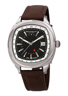 Bruno Magli Men's Enzo Cushion Watch w/ Leather Strap  Brown/Silver