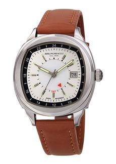 Bruno Magli Men's Enzo Cushion Watch w/ Leather Strap  Tan/Silver