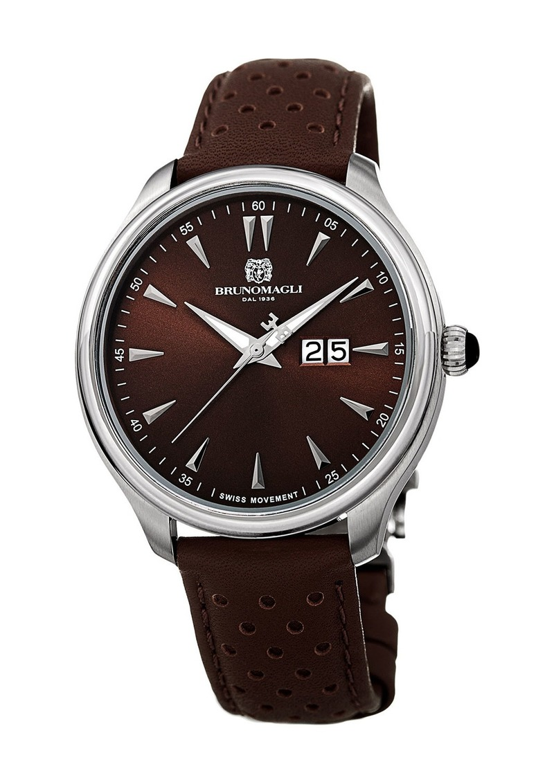 Bruno Magli Men's Luca 42mm Perforated Leather Watch  Brown/Silver