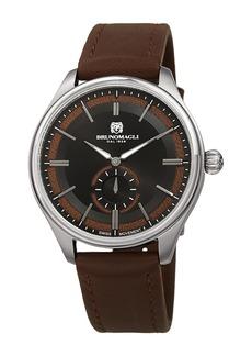 Bruno Magli Men's Luca Pelle Swiss Ronda 1069 Leather Strap Watch. 42mm