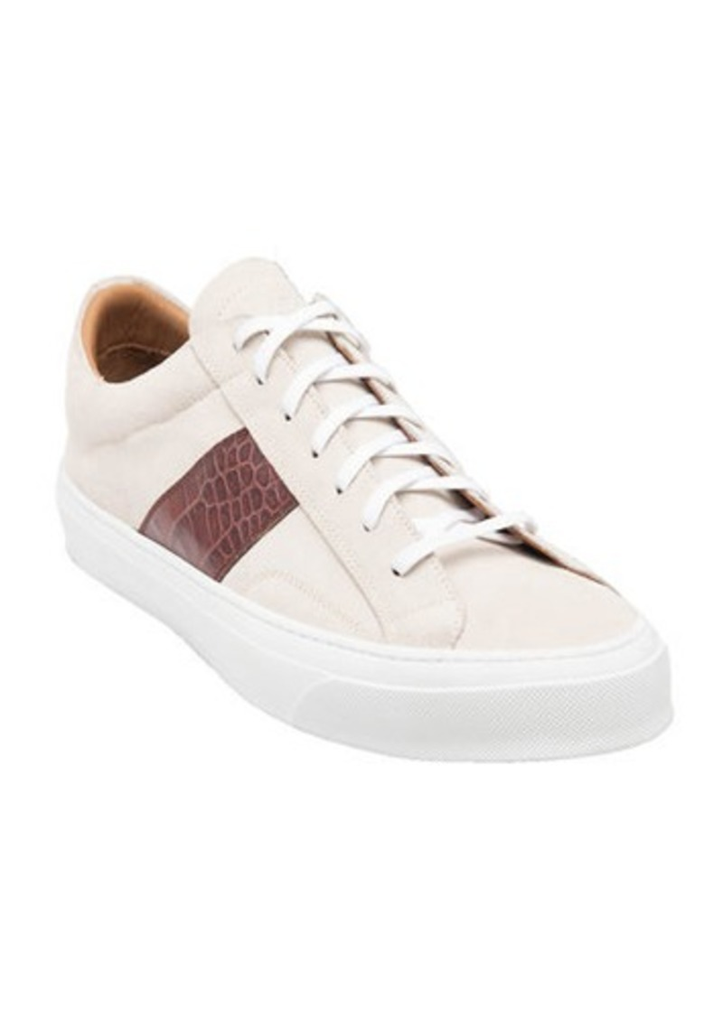 Bruno Magli Men's Onzo Suede/Croc-Embossed Leather Sneakers