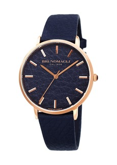 Bruno Magli Men's Roma 38mm Leather-Dial Watch  Blue/Rose