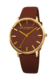Bruno Magli Men's Roma 38mm Leather-Dial Watch  Brown/Gold