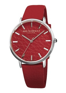 Bruno Magli Men's Roma 38mm Leather-Dial Watch  Red/Steel