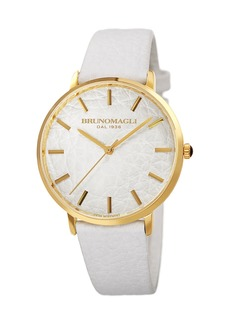 Bruno Magli Men's Roma 38mm Leather-Dial Watch  White/Gold