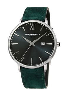 Bruno Magli Men's Roma 42mm Suede Leather Watch  Green/Silver