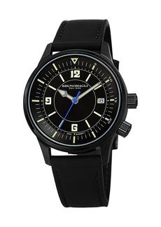 Bruno Magli Men's VITTORIO 41mm Watch w/ Italian Leather Strap  Black