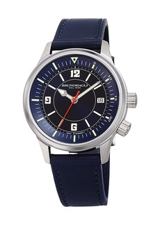 Bruno Magli Men's VITTORIO 41mm Watch w/ Italian Leather Strap  Blue