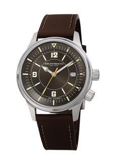 Bruno Magli Men's VITTORIO 41mm Watch w/ Italian Leather Strap  Dark Brown