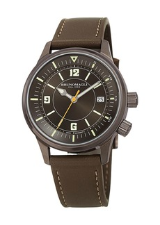 Bruno Magli Men's VITTORIO 41mm Watch w/ Italian Leather Strap  Khaki Green