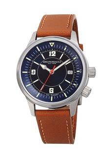 Bruno Magli Men's VITTORIO 41mm Watch w/ Italian Leather Strap  Tan