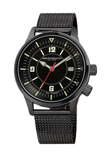 Bruno Magli Men's VITTORIO 41mm Watch w/ Mesh Bracelet Strap  Black