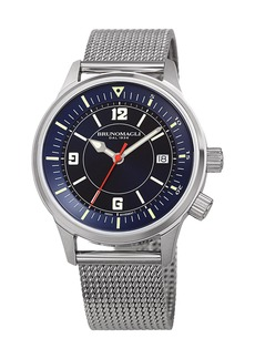 Bruno Magli Men's VITTORIO 41mm Watch w/ Mesh Bracelet Strap  Silver/Blue
