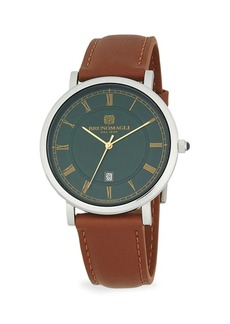 Bruno Magli Milano 1201 Stainless Steel & Leather-Strap Watch