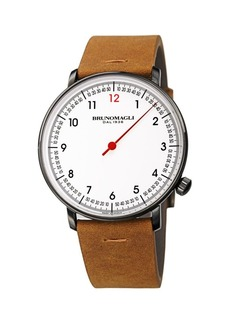 Bruno Magli Roma Fiero Stainless Steel & Leather-Strap Watch