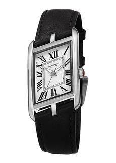 Bruno Magli Sofia Asymmetric Watch w/ Leather Strap  Black/Silver
