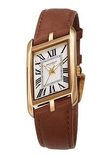 Bruno Magli Sofia Asymmetric Watch w/ Leather Strap  Brown/Gold