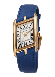Bruno Magli Sofia Asymmetric Watch w/ Leather Strap  Cobalt Blue/Gold