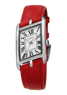 Bruno Magli Sofia Asymmetric Watch w/ Leather Strap  Red/Silver