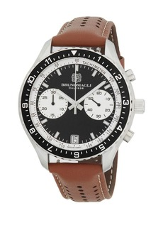 Bruno Magli Stainless Steel & Italian Leather-Strap Chronograph Watch