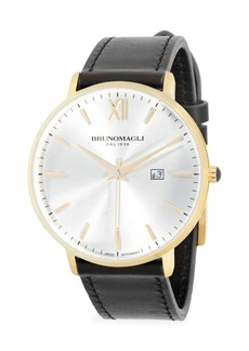 Bruno Magli Stainless Steel & Leather Strap Watch