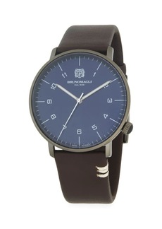 Bruno Magli Stainless Steel & Leather-Strap Watch