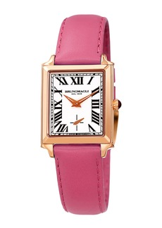 Bruno Magli Valentina Rectangular Watch w/ Leather Strap  Pink/Rose