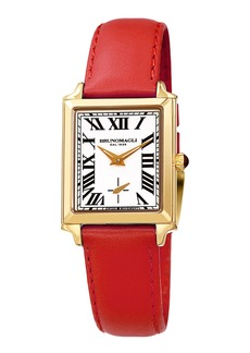Bruno Magli Valentina Rectangular Watch w/ Leather Strap  Red/Gold