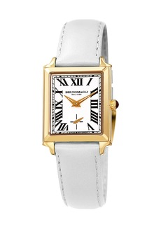 Bruno Magli Valentina Rectangular Watch w/ Leather Strap  White/Gold