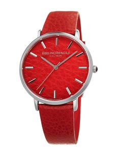 Bruno Magli Women's Roma 1223 Embossed Leather Strap Watch, 38x42mm