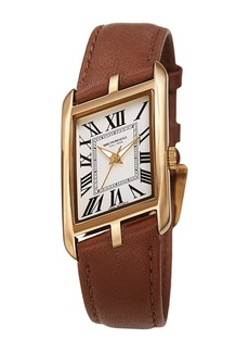 Bruno Magli Women's Sofia 1421 Asymmetrical Case Leather Strap Watch, 24mm