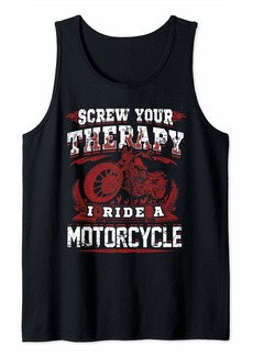 Buffalo Jeans Biker Gift Screw Your Therapy I Ride A Motorcycle Vintage Tank Top