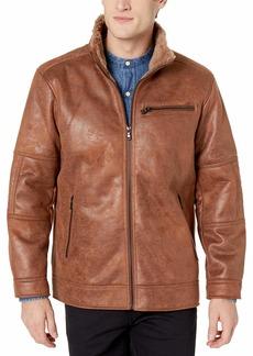 Buffalo Jeans Buffalo by David Bitton Men's Faux Shearling Leather Bomber Jacket