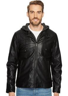 Buffalo Jeans Buffalo by David Bitton Men's Hooded Faux Leather Jacket  Extra Large