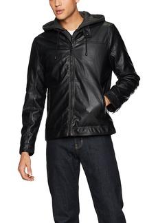 Buffalo Jeans Buffalo by David Bitton Men's Hooded Faux Leather Jacket  XL