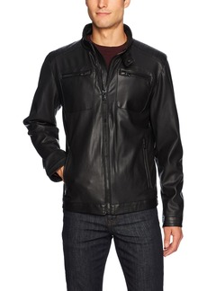 Buffalo Jeans Buffalo by David Bitton Men's Perforated Faux Leather Jacket  S