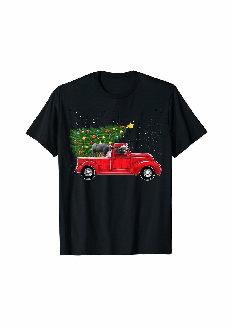 Buffalo Jeans Buffalo Christmas On Red Car Truck with Xmas Tree Buffalo T-Shirt