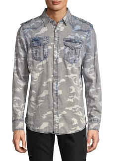 Buffalo Jeans Camouflage Cotton Button-Down Shirt