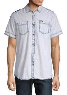 Buffalo Jeans Epaulette Short-Sleeve Cotton Button-Down Shirt
