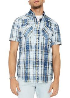 Buffalo Jeans BUFFALO David Bitton Faded Short Sleeve Plaid Button-Down Shirt